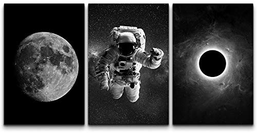 SIGNFORD Canvas Print Wall Art Set Black & White Astronaut and Planet Duo...