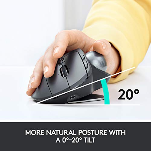 Logitech MX Ergo Wireless Trackball Mouse Adjustable Ergonomic Design,...