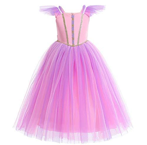 O.AMBW niña Princesa Vestido Bella Durmiente Princesa Aurora Disfraz púrpura sin Mangas Disfraz de Tul Fiesta de Halloween cumpleaños Cosplay Disfraz Accesorios Corona Peluca Collar Pendientes