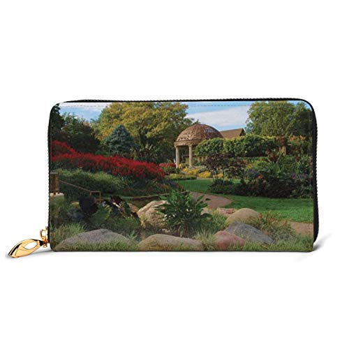 Women's Long Leather Card Holder Purse Zipper Buckle Elegant Clutch Wallet, Picture of A Gazebo At The Sunken Gardens In Lincoln City Blooming Green Nature,Sleek and Slim Travel Purse