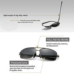 SUNGAIT Ultra Lightweight Rectangular Polarized Sunglasses Man UV400 Protection (Gunmetal Frame Gray Lens, 62) 2458 QKHUK #2
