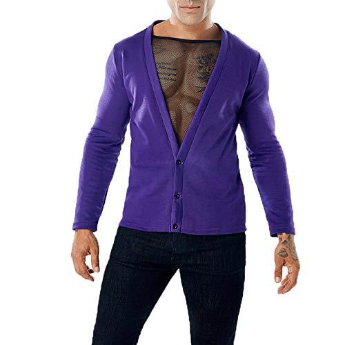 SLYZ Modelos De Otoño E Invierno para Hombres Europeos Y Americanos De Malla De Color Puro Costura Suéter Suéter De Dos Piezas Falso Sexy para Hombres