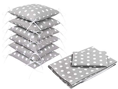 Set di biancheria da letto con copripiumino e paracolpi per lettino, motivo a pois grigi, 100x 135 cm