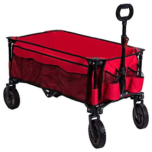 Timber Ridge Folding Camping Wagon, Garden Cart, Collapsible, Red
