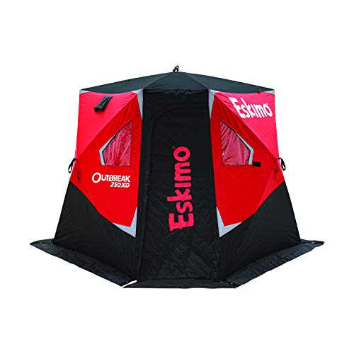 Eskimo Outbreak 250XD Pop-up Portable Insulated Ice Fishing Shelter, 51 sq ft. Fishable Area, 2-3 Person, red/Black, 112' x 112'