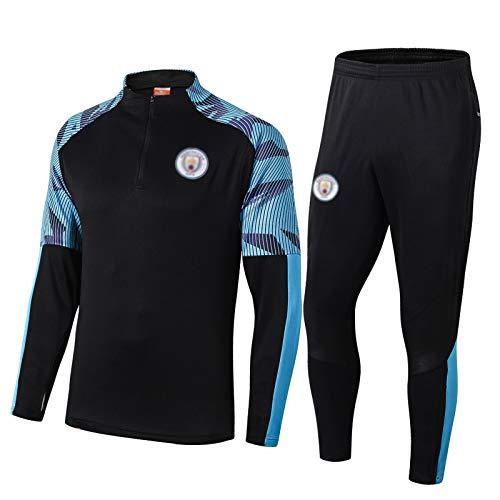 19-20マンチェスター・シティのサッカートレーニングスーツ、ユニセックスブラックハーフジッププルオーバー長袖のスポーツウェアトップ+ボトム blue-XL