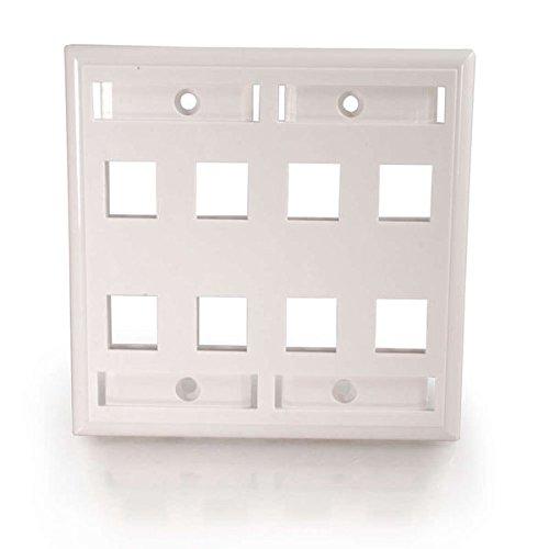 C2G 03415 8-Port Double Gang Multimedia Keystone Double Gang Wall Plate, White