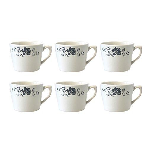 Depot d'argonne Rose Motif 6 Tasses à Cappuccino, en CÉRAMIQUE, Gris, 11 x 9 x 7 cm