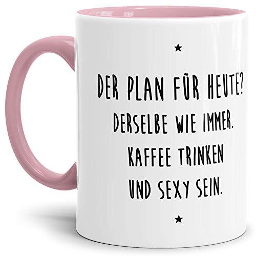 Tassendruck Lustige Tasse mit Spruch Kaffee Trinken und sexy Sein - Büro/Job/Arbeit/Witzig/Kaffee-Tasse/Geschenk-Idee/Innen & Henkel Rosa