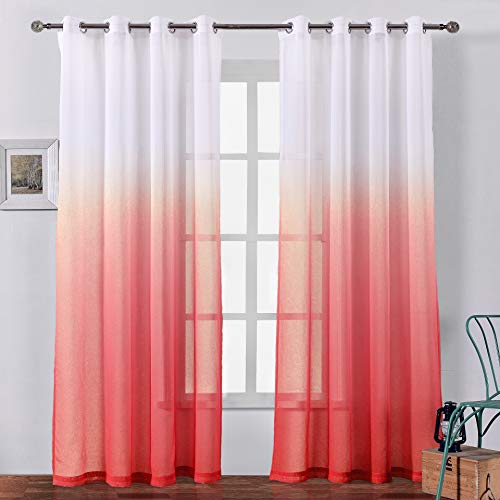 Bermino Faux Linen Sheer Curtains Voile Grommet Ombre Semi Sheer Curtains for Bedroom Living Room Set of 2 Curtain Panels 54 x 84 inch Red Gradient