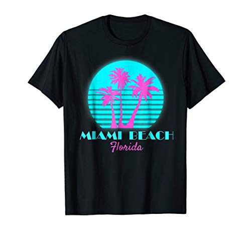 Adults or Kids Miami Beach Florida Neon Pink and Turquoise Palms Sunset Tee, uo to 3XL