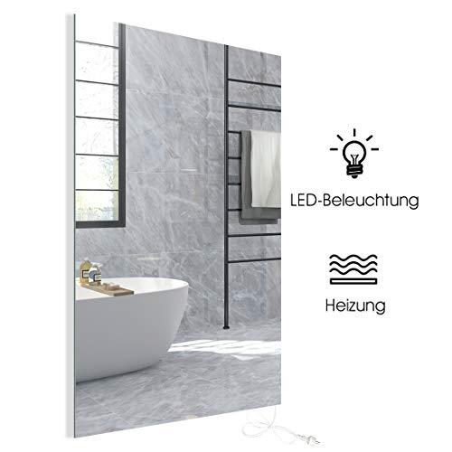 Spiegelheizung Infrarotheizung 580W mit LED Beleuchtung Infrarot Spiegel Heizung Wandheizung Elektroheizkörper Heizplatte Heizpaneel Elektroheizung Wandmontage Energieeinsparend