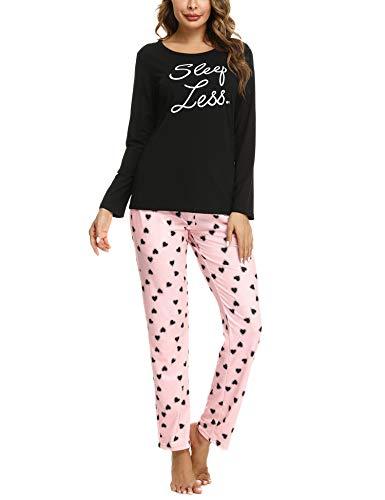 Pigiama Donna Cotone Lungo Invernali Pigiama Due Pezzi,Gatto Stampato Manica +Pantaloni Lunga (Nero,XL)