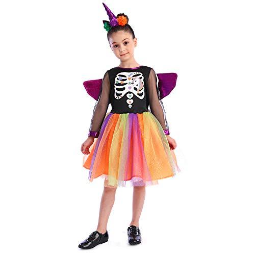 Sincere Party Costume da strega scheletro unicorno, costume di Halloween creativo ed elegante per bambina 7-8 anni