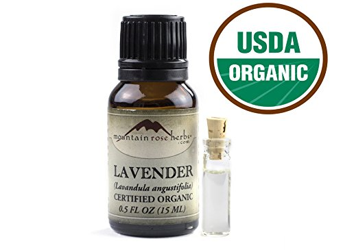 Organic Lavender Essential Oil - USDA Certified Organic - Premium Therapeutic Grade - 100% Pure and Natural - Perfect for Aromatherapy, Relaxation, DIY, Improved Mood 0.5 Ounce - Mountain Rose Herbs