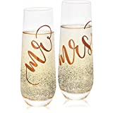 Juvale 2-Pack Rose Gold Glass Mr and Mrs Stemless Champagne Wedding Flutes, 9.8 Ounces