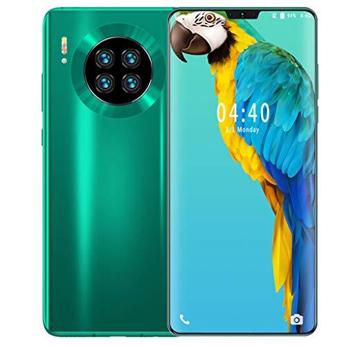 WQLESO Mate39 128GB 6.7 Pulgadas FHD Dewdrop Display Smartphone con cámara Triple Ultra Ancha AI de 48MP, 4GB RAM, teléfono móvil Android 9.0 Sim-Free, reconocimiento de Cara Simple,Green