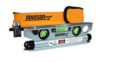 JOHNSON 40-6164 7-1/2-Inch Magnetic Torpedo Laser Level with Softsided Padded Carrying Pouch