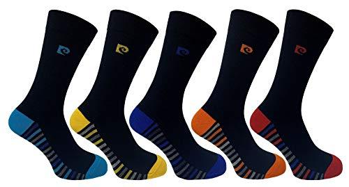 Pierre Cardin Mens 5 Pack Socks - Black Striped Footbed