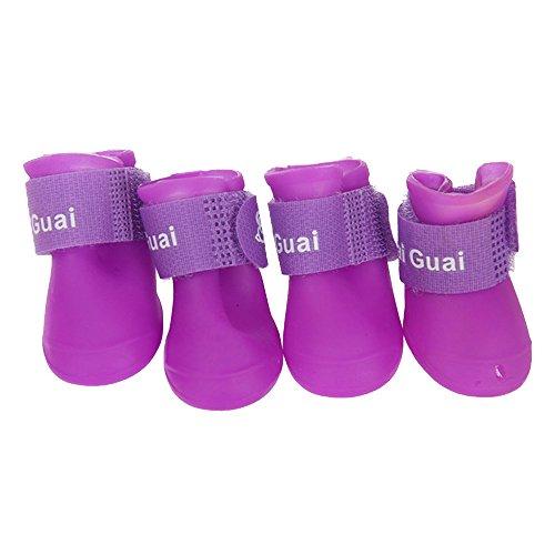 HuntGold New 4 PCS Imperméable de PVC Bottes Petites Chaussures de Pluie pour Chien Chiot(Pourpre Taille: L)