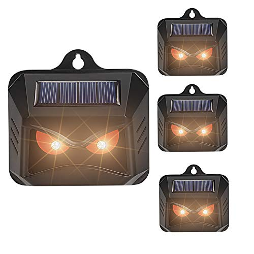 Thanos Solar Powered Nocturnal Animals Repeller with Red LED Lights Predator Deterrent Light Skunk Deer Raccoon Coyote Repellent for Yard Chicken Coop Farm Waterproof 4 Pack