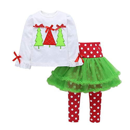 Cuteelf Kinder Langarm Trompete Ärmel Weihnachtsbaum Print Top + Polka Dot Net Rock Hosen Hosen Set Kind Baby Langarm Weihnachtsbaum Top Hosen Rock Set