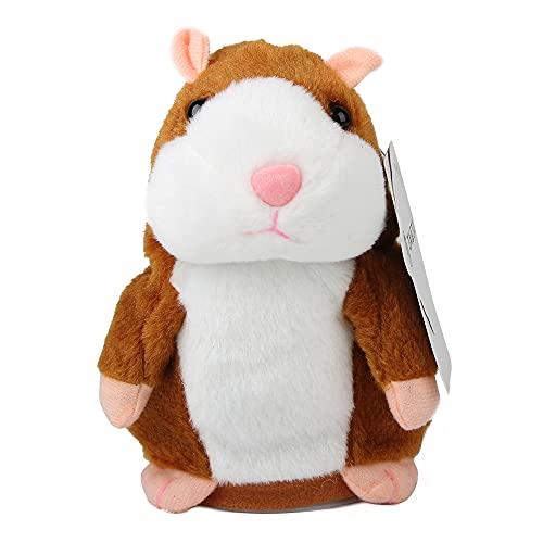 Talking Hamster Plüschtier, wiederholen Sie, was Sie sagen Lustige Kinder Stofftiere, Talking Record Plüsch Interaktives Spielzeug zum Valentinstag, Geburtstagsgeschenk Kids Early Learning (Braun)