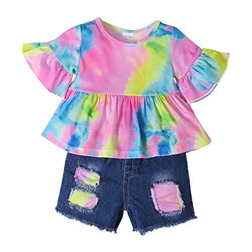 Niños bebés niñas 2 Piezas Traje de Verano Girasol Camiseta de Manga Corta Pantalones Cortos de Mezclilla Rasgados Trajes Casuales Traje (#4-Tie Dye, 18-24M)