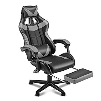 Soontrans Ergonomic Gaming Chair,Office Computer Game Chair,E-Sports Chair,Gaming Chair,Racing Style with Adjustable Recliner Headrest Lumbar Pillow and Retractable Footrest Galaxy Grey