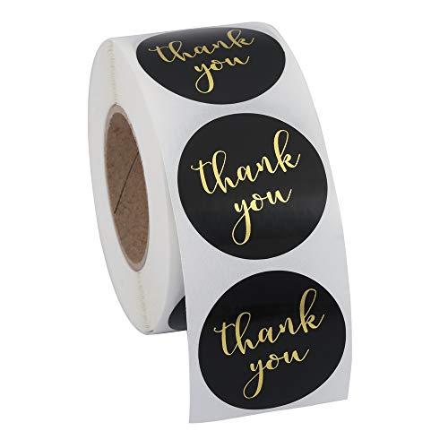 Mogokoyo 500 Stück Thank You Sticker, Rund Etiketten Thank You Handschrift Rosegold Folie Danke Aufkleber Selbstklebend für DIY Briefumschlag/Backen/Geschenktüten/Handarbeit (Thank You #3)