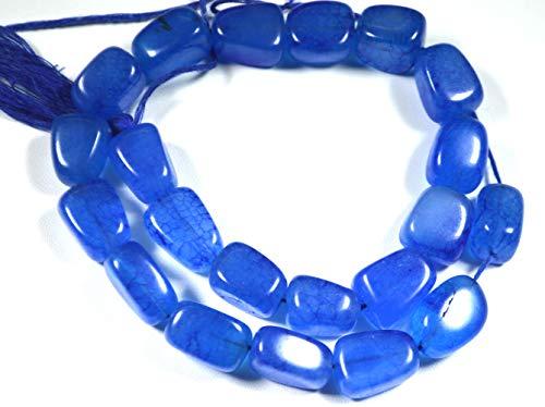 Cuentas de ónix de color azul, lisas, lisas, de color azul, ónix y briolettes de 15 mm a 16 mm (aproximadamente).