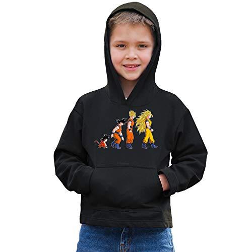 OKIWOKI trui met capuchon voor kinderen, zwart, Dragon Ball Z - DBZ Parodieën Sangoku Super Saiyajin: De theorie van de ontwikkeling: (Parodie Dragon Ball Z - DBZ)