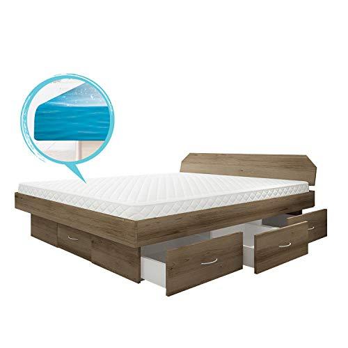 SONDERAKTION bellvita silverline Wasserbett mit Soft-Close Schubladensockel & Bettumrandung inkl. Lieferung & Aufbau durch Fachpersonal, 160cm x 200cm (trüffel Eiche)