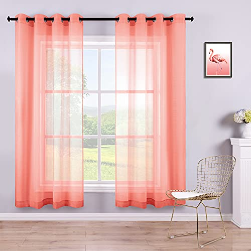 Coral Curtains 63 Inch Length for Girls Bedroom Decor 2 Panels Set Grommet Semi Voile Window Drapes Orange Coral Sheer Curtains for Living Room Kids Nursery Fall Decorations 52x63 Long