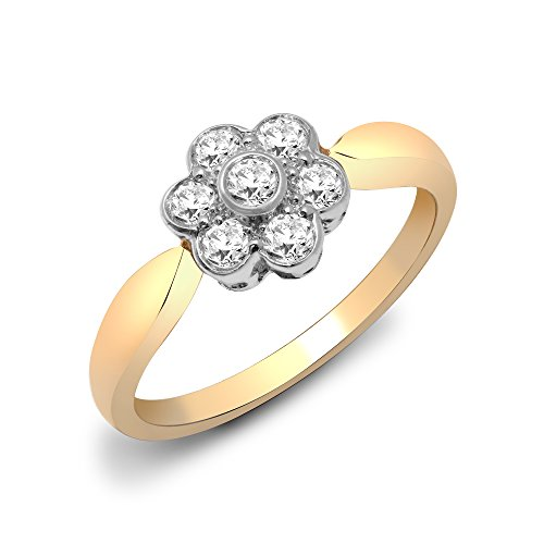 Jewelco London Ladies Solid 9ct Yellow Gold Rub Over Set Round H I2 0.39ct Diamond 7 Stone Daisy Cluster Ring 9mm, Size L