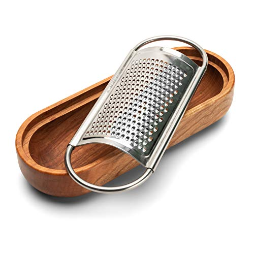 Kings County Tools | Stainless Steel Cheese Graters with Integrated Cherry Wood Serving Bowl | Made in Italy