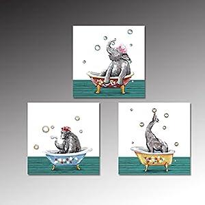 "HOMEOART 3 Pcs Funny Bathroom Decor Canvas Wall Art Prints Bathing Animals Elephant Giraffe Gorilla Painting Poster Prints Framed Artwork Kids Children Bathroom Bedroom Decor 12""x12""x3 Pcs"