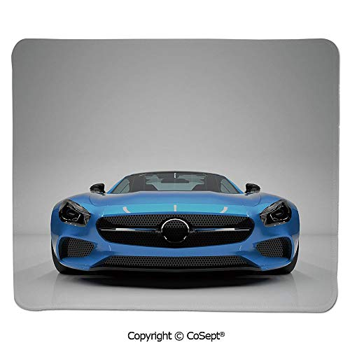 "Mouse Pad,Modern Blue Sports Car Power Prestige Speed Fast Vehicle Automobile Image,Non-Slip Water-Resistant Rubber Base Cloth Computer Mouse Mat (7.87"" x 9.44""),Blue Black Grey"
