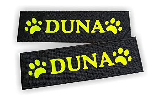 N/D Coppia Etichette a Strappo Personalizzate con Il Nome del Cane, Complete di Velcro, per Julius K9, (Medium 16 x 5 cm, Nero)