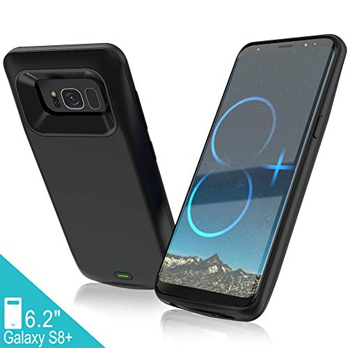 Elebase Galaxy S8 Plus Battery Case,5500mAh Portable External Backup Charging Case,Rechargeable Impact Resistant Extended Power Charger for Samsung Galaxy S8 Plus(Not Galaxy S8)(Black)