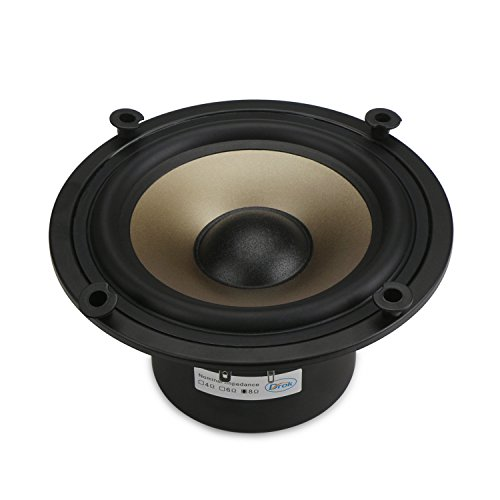 DROK 8 Ohms HiFi Loundspeaker 50W Low-Frequency Woofer, 6.5 inches Champagne Megabass Speaker for Subwoofer, Dual Magnetic Audio Speakers, DIY Speakers for Bass Amp Loud Speaker Home Audio System