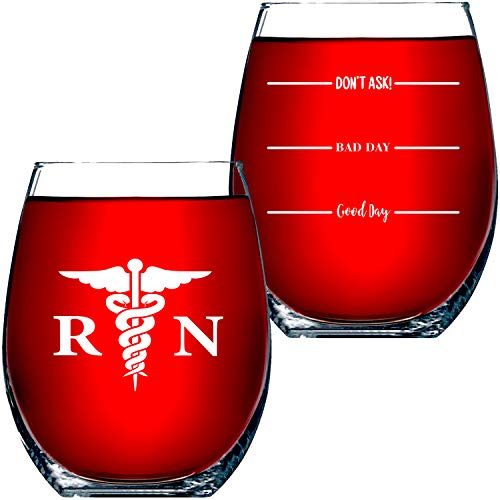 Nurse Gifts For Women RN – Good Day, Bad Day, Don't Ask Novelty Wine Glass 15 OZ – Funny Gifts For Nurses, For Women, For Men, RN Nursing Gifts, CoWorker Gift, Nursing Students by Funny Bone Products