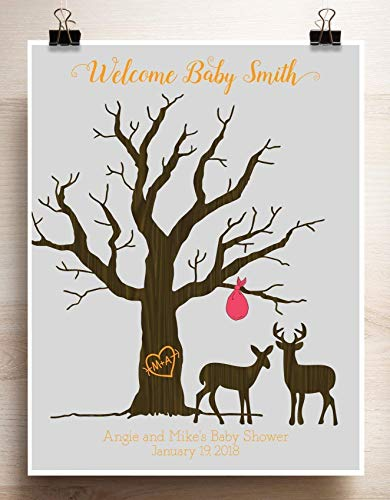 Personalized Custom Cartoon  Christmas Deer Guest Book Print Finger student Guest Book,baby shower finger print guest book canvas