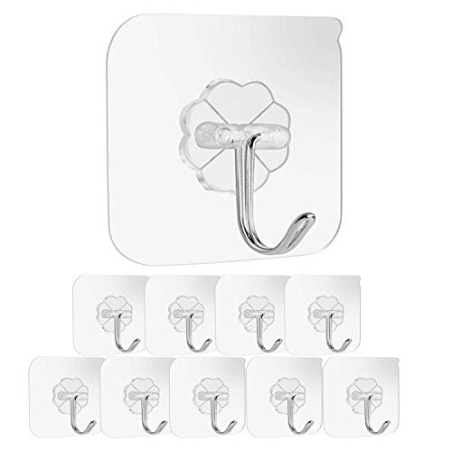 Adhesive Wall Storage Hook 10Pack 11lb/5kg(Max) Heavy Duty Transparent Reusable Seamless Sticky Kitchen Bathroom Ceiling Door Office Window Waterproof and Oilproof Self Adhesive Hooks