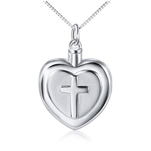 DAOCHONG 925 Sterling Silber Urn Halskette für Asche Feuerbestattung Memorial Andenken für Frauen Männer Immer in Meinem Herzen Feuerbestattung Kreuz Halskette für Asche