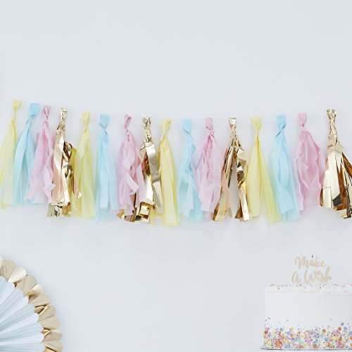 Ginger Ray Pastel Blue, Pink & Gold Tassel Hanging Garland 2 Meters Pick & Mix, Multicolour