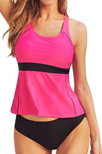 AdoreShe Women Racerback Solid Tankini Top Swimsuit Simply Bathing Suits with Triangle Briefs Swimsuit (A18091,Rose, M)