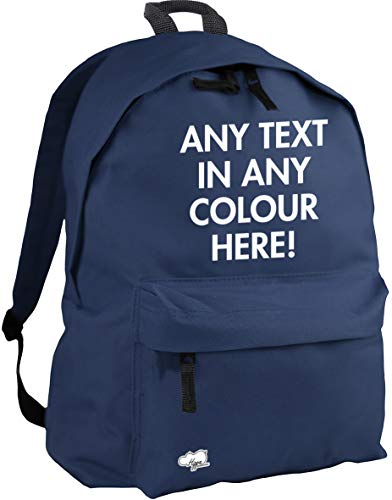 HippoWarehouse ANY TEXT ANY COLOUR HERE PERSONALISED PRINTED backpack ruck sack Dimensions: 31 x 42 x 21 cm Capacity: 18 litres