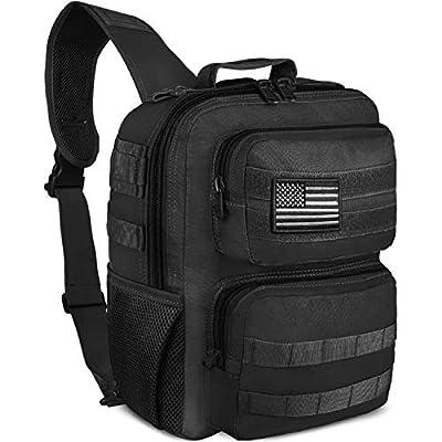 NOOLA Tactical Sling Bag Pack Military Shoulder Sling Backpack Small Range Bag Pack Black