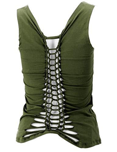Guru-Shop Festival Pixi Top con espalda refinada, espalda libre Yogatop, damas, algodón, Tops & camisetas alternativas ropa